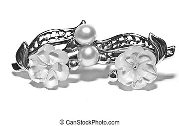 silver earrings with pearls and nacre