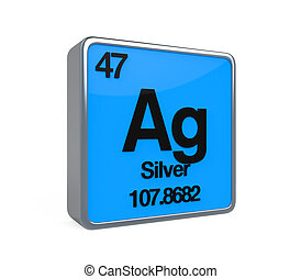 Silver Element Periodic Table isolated on white background....