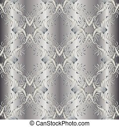 Silver embroidery floral 3d seamless pattern. Damask tapestry ba