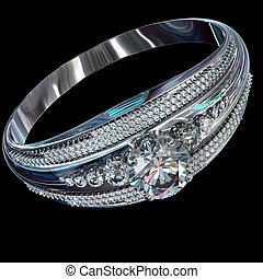 Silver engagement band with diamond gem.