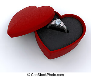 Silver engagment ring in a heart shaped box