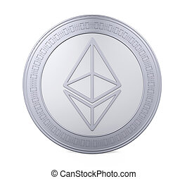 Silver Ethereum Coin Isolated - Silver Ethereum Coin ...