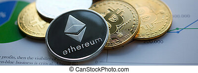 Silver ethereum jn chart paper closeup. Hard fork news consept