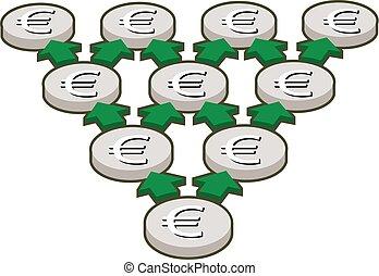 silver euro coins, geometric progression, finance concept