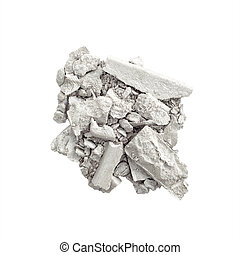 Crushed eyeshadow in silver isolated on white background