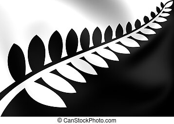 Silver Fern (Black & White) Flag, Proposal Flag New Zealand.