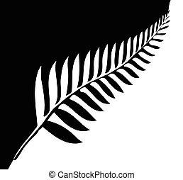 Silver Fern of New Zealand - Silhouette of a silver fern, a...