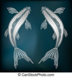 Silver fishes, zodiac Pisces sign