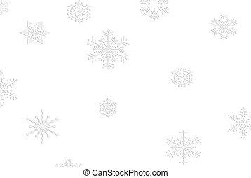 Silver Flakes - Silver snowflakes on a white background.