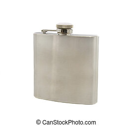 Silver flask of brandy isolated over a white background