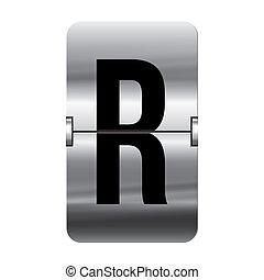Silver flipboard letter - r