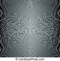 Silver Floral decorative vintage fashion wallpaper Background