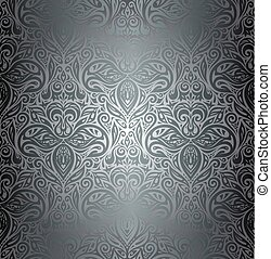 Silver Floral decorative vintage wallpaper Background