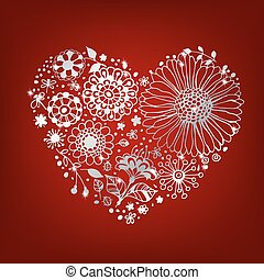 Silver floral heart