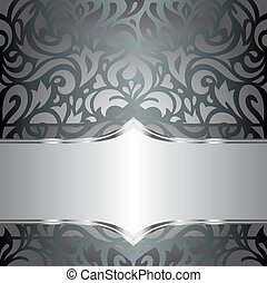 Silver floral luxury background