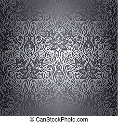 Silver Floral shiny decorative vintage wallpaper