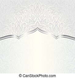 Silver floral vintage pattern design background copy space