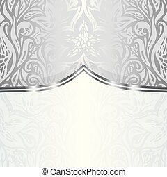 Silver floral vintage pattern wallpaper background