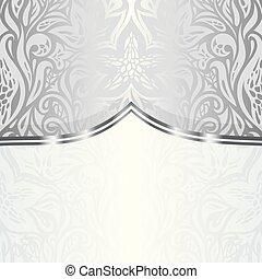 Silver floral vintage pattern wallpaper background