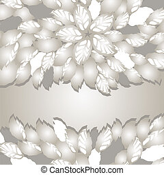 Silver flowers and leaves borders