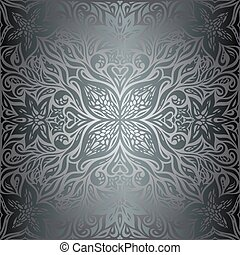Silver Flowers, Floral shiny decorative vintage wallpaper Background trendy fashion mandala design