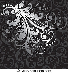 Silver flowers on seamless pattern