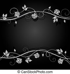 Silver flowers with shadow on dark background.