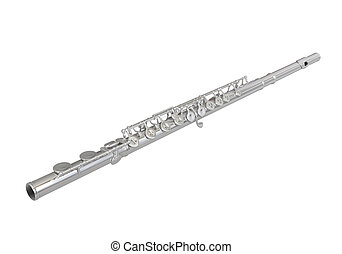 Silver Flute Isolated on white background. 3D render