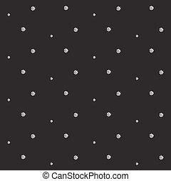 Silver foil glitter polkadot seamless pattern.