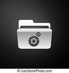 Silver Folder settings with gears icon isolated on black background. Concept of software update, transfer protocol, router, teamwork tool management. Long shadow style. Vector