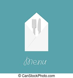 Silver fork knife and napkin. Menu cover in flat design style.