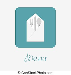 Silver fork knife spoon and napkin icon. Menu cover in flat design style.