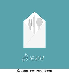 Silver fork knife spoon and napkin. Menu cover in flat design style.