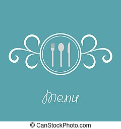 Silver fork, knife, spoon inside round calligraphic frame. Menu cover in flat design style.