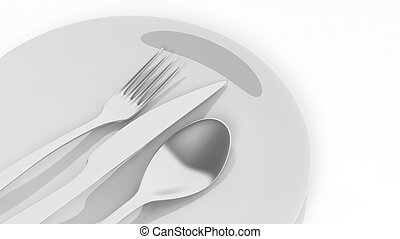 Silver fork, spoon and knife with a plate, isolated on white background.