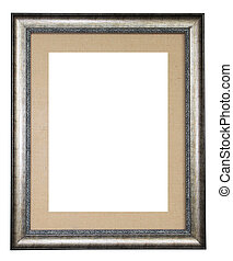 Silver frame decorated with canvas isolated on white background