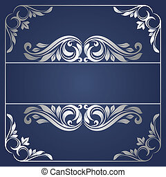 Silver frame - Floral border. Abstract flower background.