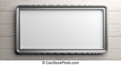 Silver frame on wooden background. 3d illustration