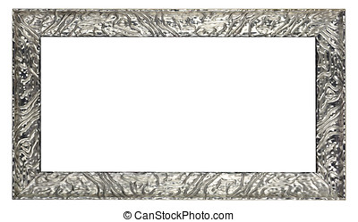 Silver frame with pattern detail - Rectangular silver...