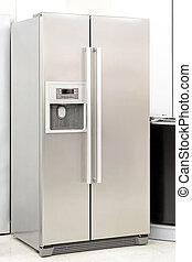 Silver fridge with double doors an ice maker