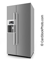 Silver fridge with side-by-side door system isolated on...
