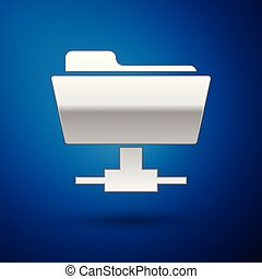 Silver FTP folder icon on blue background. Concept of software update, ftp transfer protocol, router, teamwork tool management, copy process, info. Vector Illustration