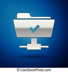 Silver FTP operation successful icon on blue background. Concept of software update, transfer protocol, teamwork tool management, copy process. Vector Illustration