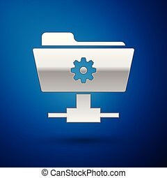 Silver FTP settings folder icon on blue background. Concept of software update, transfer protocol, router, teamwork tool management, copy process. Vector Illustration
