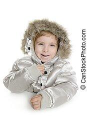 silver fur hood winter coat little girl