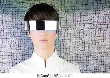 silver futuristic glasses modern woman portrait