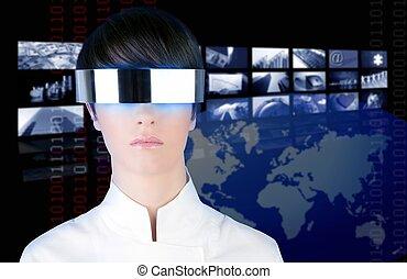 silver futuristic glasses woman portrait tv news cinema