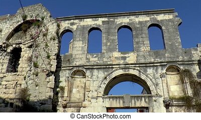 Detailed view of the Silver gate at the Roman Diocletian's Palace, a historical landmark in Split, Croatia.