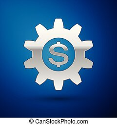 Silver Gear with dollar symbol icon isolated on blue background. Business and finance conceptual icon. Vector Illustration
