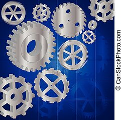 Silver gears 3D on the Blue background